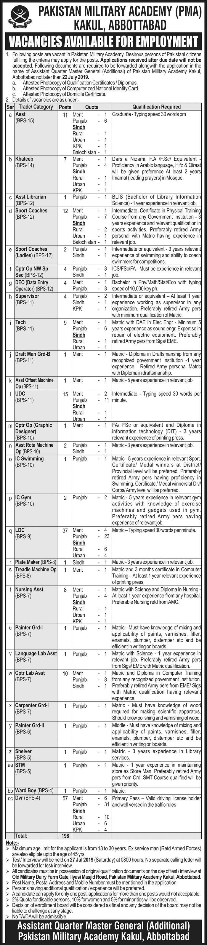 Pakistan Military Academy PMA Kakul Abbottabad Jobs 2019