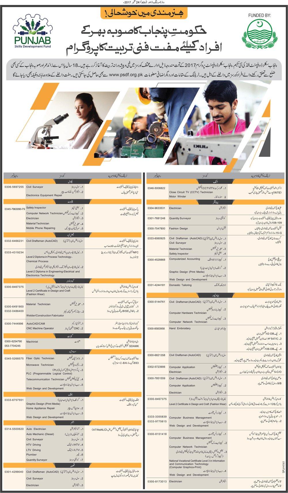 Punjab Skill Development Fund PSDF Jobs 2017 Application Form, Date Advertisement