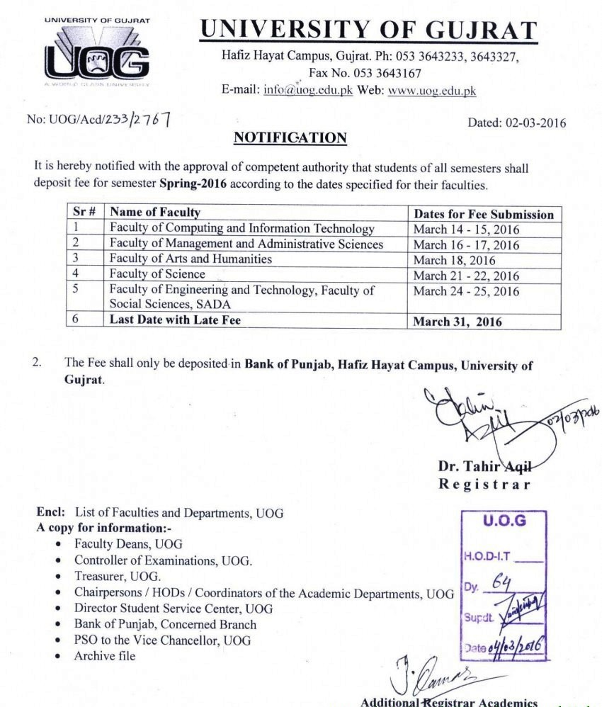 University Of Gujrat UOG BA, BSc Date Sheet 2016