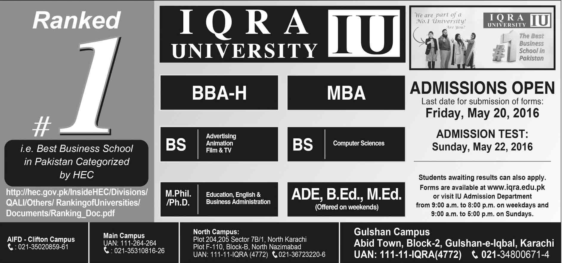 Iqra University Karachi Admission 2016 Form, Last Date