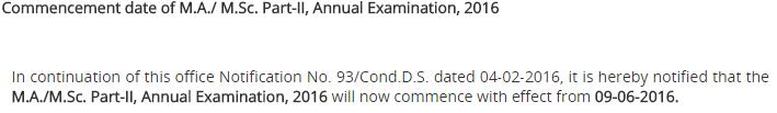 Punjab University MA, MSC Part 1, 2 Date Sheet 2016