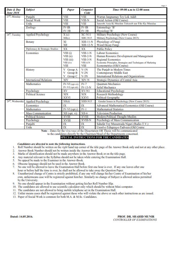 Punjab University MA MSC Part 1, 2 Date Sheet 2016_007