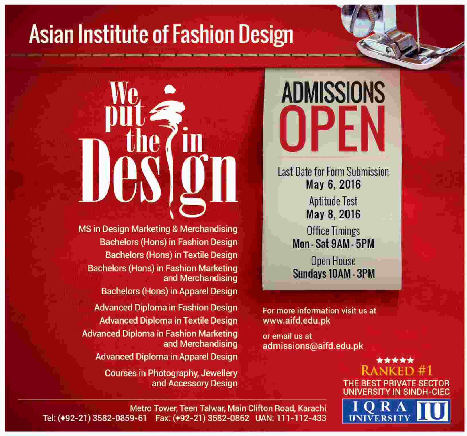 AIFD Karachi Admission 2016 Online Form Asian Institute Of Fashion Design