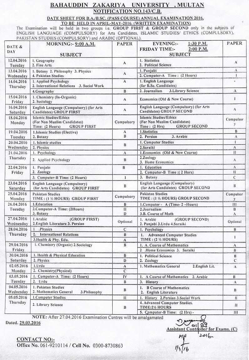 Bahauddin Zakariya University BZU BA, BSc Date Sheet 2016