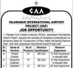 CAA Islamabad International Airport Project Jobs 2016 (IIAP) Application Form
