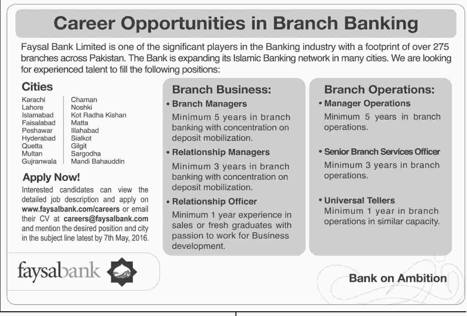 faysal bank jobs 2016 karachi  lahore  islamabad  peshawar
