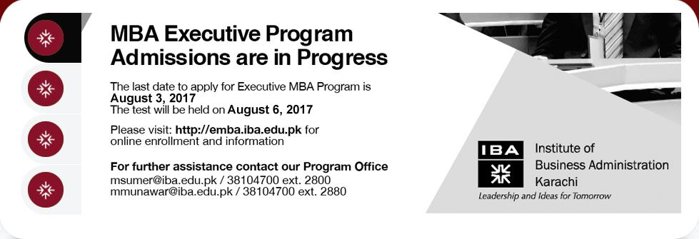 IBA Karachi Executive MBA Program Admissions 2017 Form, Last Date