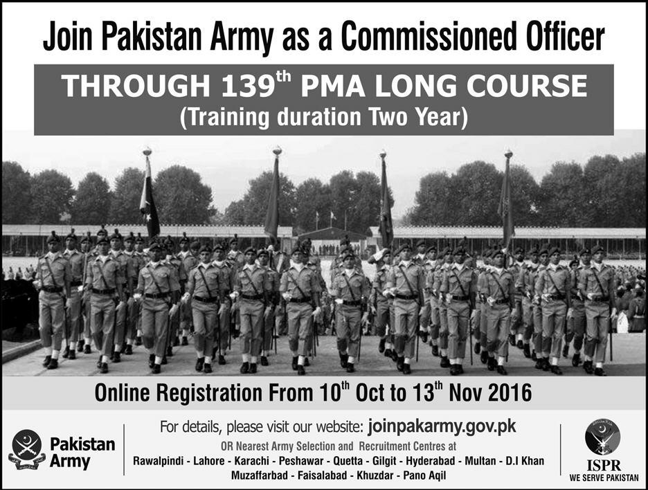 Join Pak Army PMA Long Course 139th Online Registration 2016 Commissioned Officer