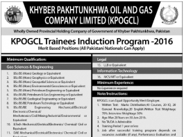 KPK Oil And Gas Company KPOGCL Trainees Induction Program 2016 PTS Form Download_001