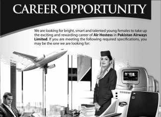 Pakistan Airways Female Air Hostess Jobs 2016 Online Registration Form