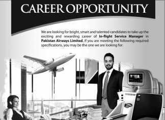 Pakistan Airways Jobs 2016 In-Flight Service Manager Online Form, Last Date