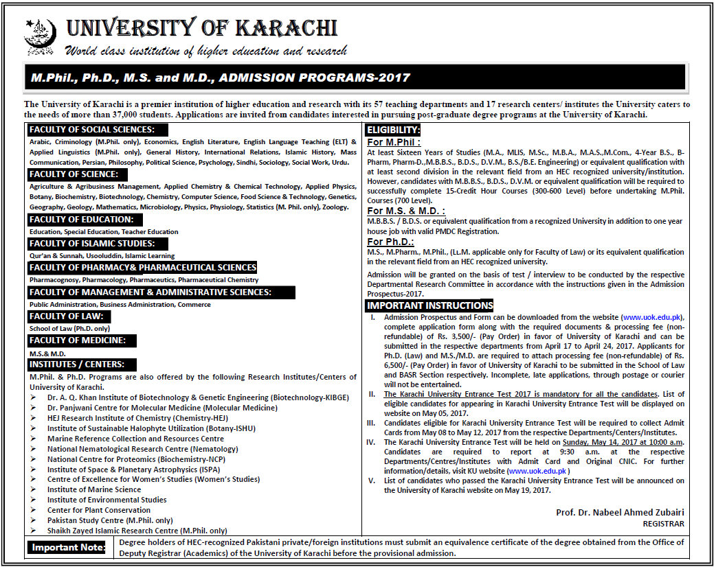University of Karachi UOK MS, MPhil, PhD Admission 2017