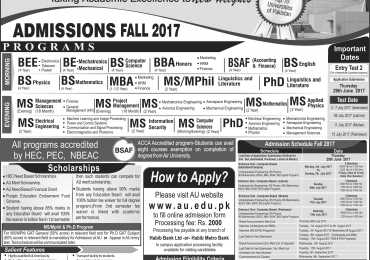 Air University Admissions Fall 2017 are Open Now