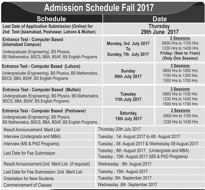 Air University Admissions Schedule 2017