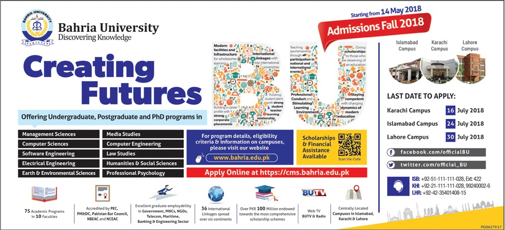 Bahria University Islamabad Admissions Fall 2018 Form, Entry Test