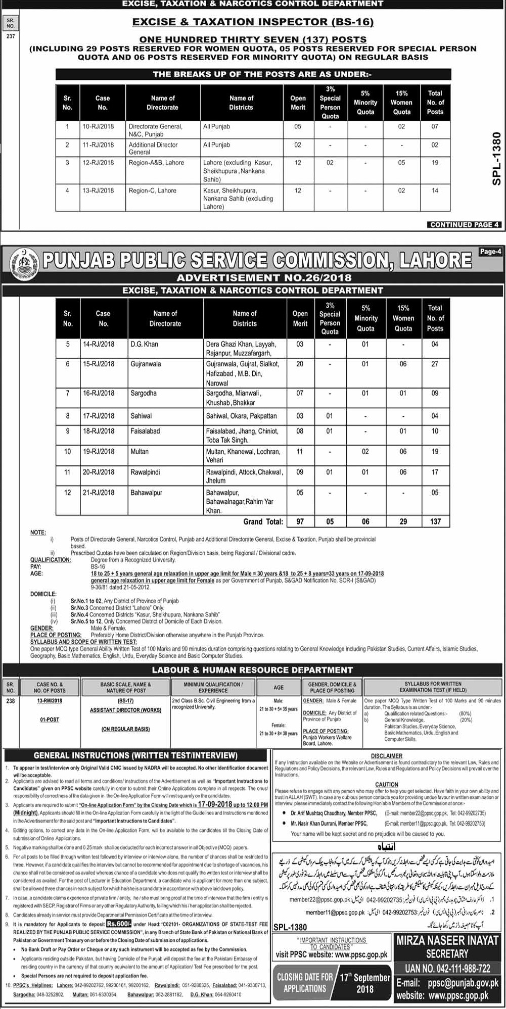 Excise and Taxation Inspector Jobs in Punjab 2018 District Wise Apply Online