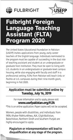 Fulbright Foreign Language Teaching Assistant FLTA Program 2020 Form Download