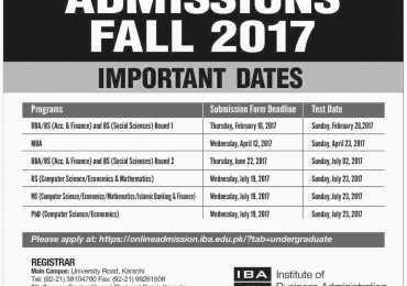 Institute Of Business Administration IBA Karachi Admission 2017