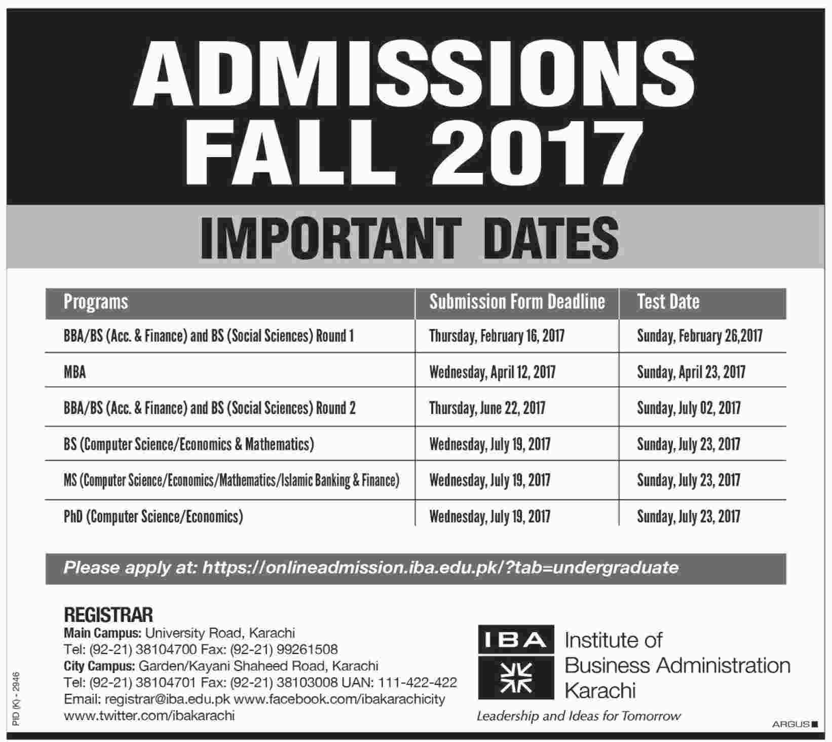 Institute Of Business Administration IBA Karachi Admission 2018