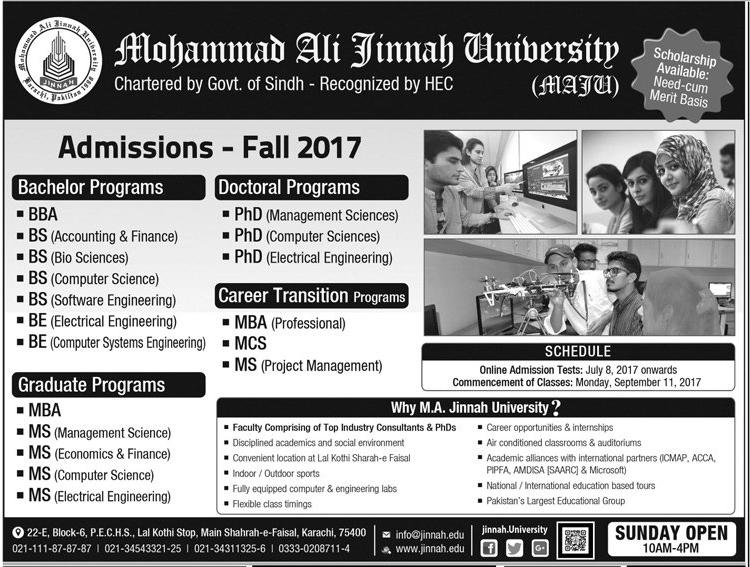 MAJU Karachi Fall Admission 2017 Form, Entry Test Result