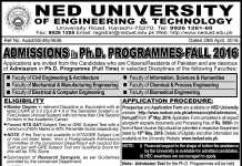 NED UET PhD Admissions Fall 2016 Download Application Form, Entry Test Date