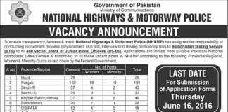 NHA Motorway Police Jobs 2016 Junior Patrol Officer BTS Application Form