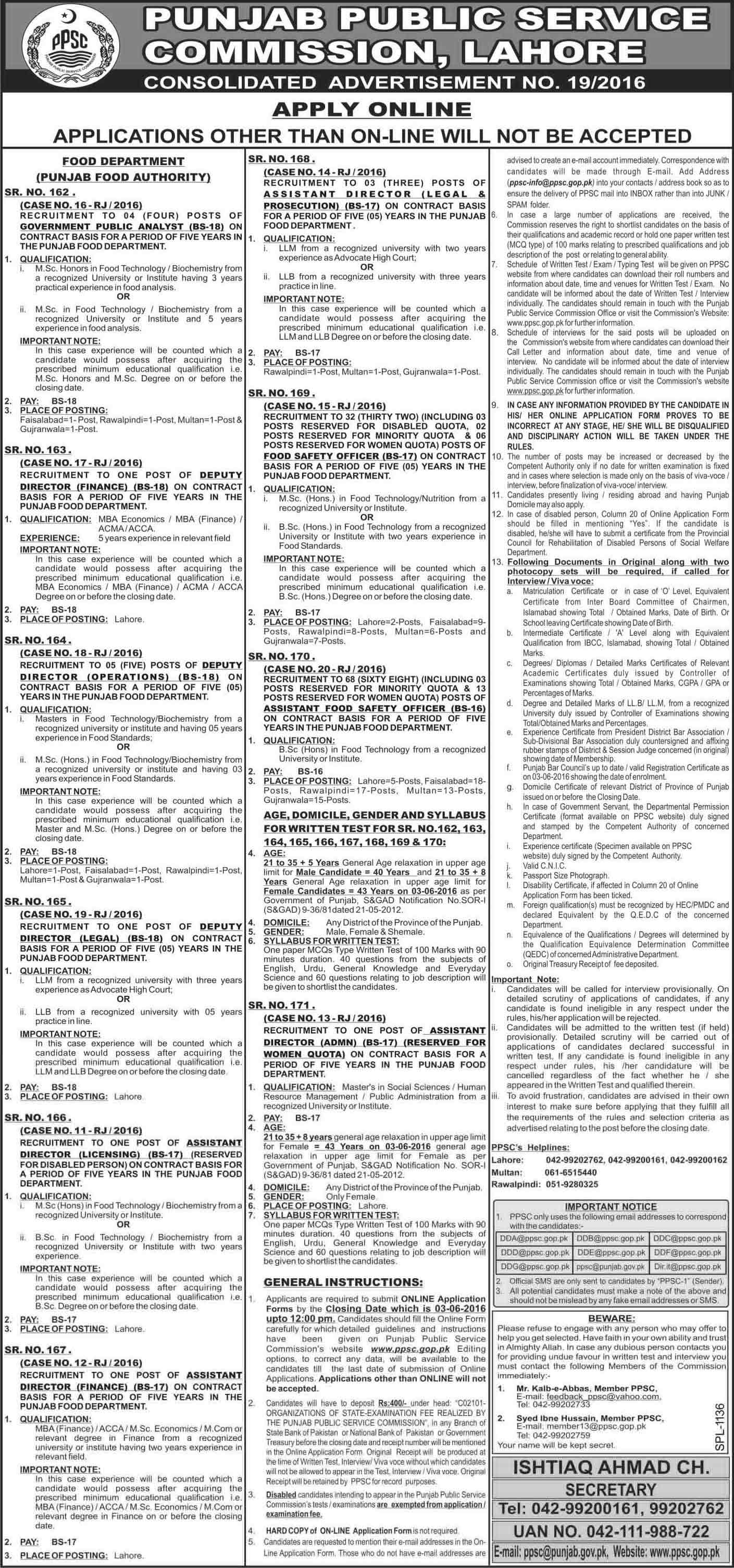 PPSC Assistant Food Safety Officer Jobs In Food Department 2016 Apply Online Form