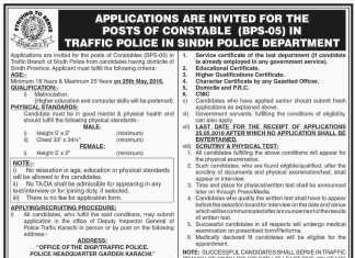 Sindh Traffic Police Jobs 2016 Male, Female Constables Application Form Last Date