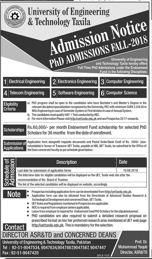 UET Taxila PhD Admission Fall 2018 Download Form, Test Date Schedule