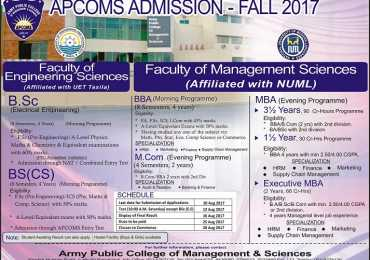 Army Public College APCOMS Admissions Fall 2017 Engineering Form Date