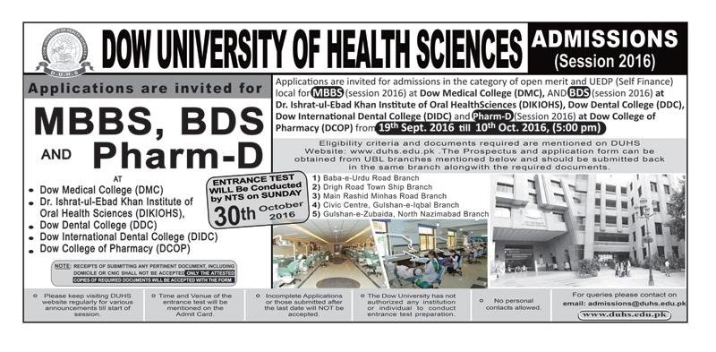 DOW University Karachi MBBS, BDS Admission 2016 NTS Entry Test Form