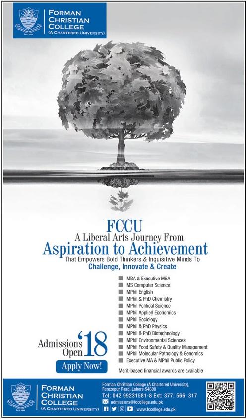 Forman Christian FC College Lahore Postgraduate Admission 2018 Form, Last Date