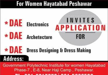 Government Polytechnic Institute Women Peshawar Admissions 2017 Form