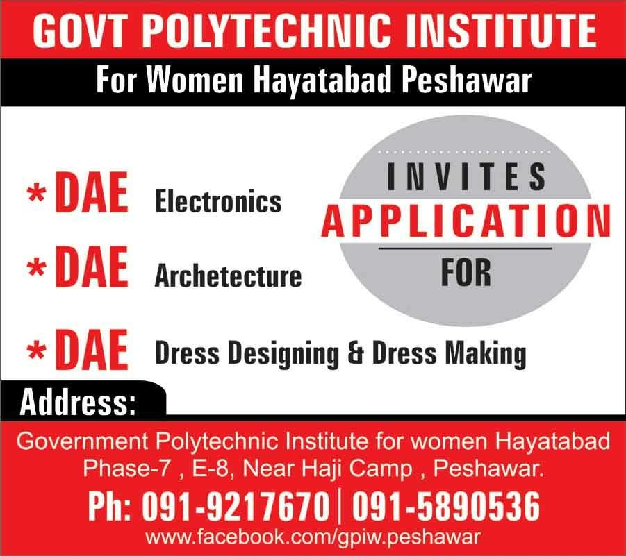 Government Polytechnic Institute Women Peshawar Admissions 2018 Form