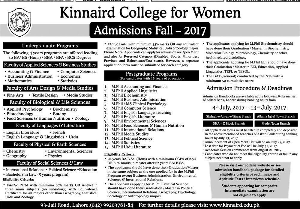 Kinnaird College for Women Admissions Fall 2017