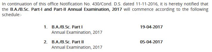 PU BA, BSC Annual Exams Date Sheet 2017