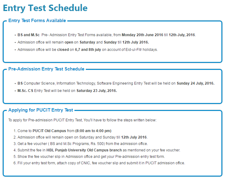 Punjab University College of Information Technology Entry Test Fall 2016