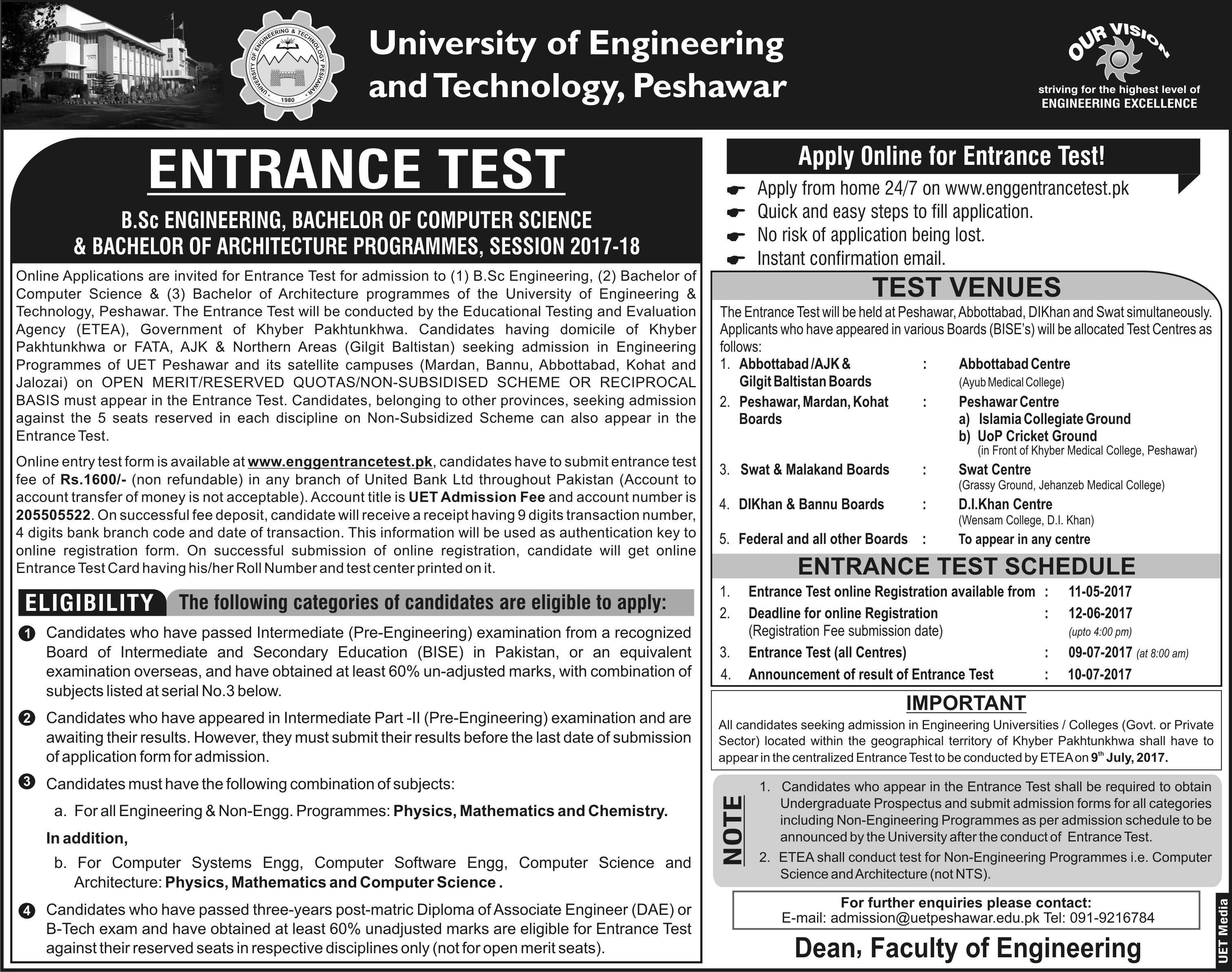 UET Peshawar Entry Test 2017 Online Registration Form Schedule