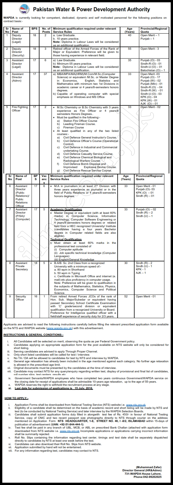 assistant director jobs 2016 nts application form last date wapda assistant director jobs 2016 nts application form last date