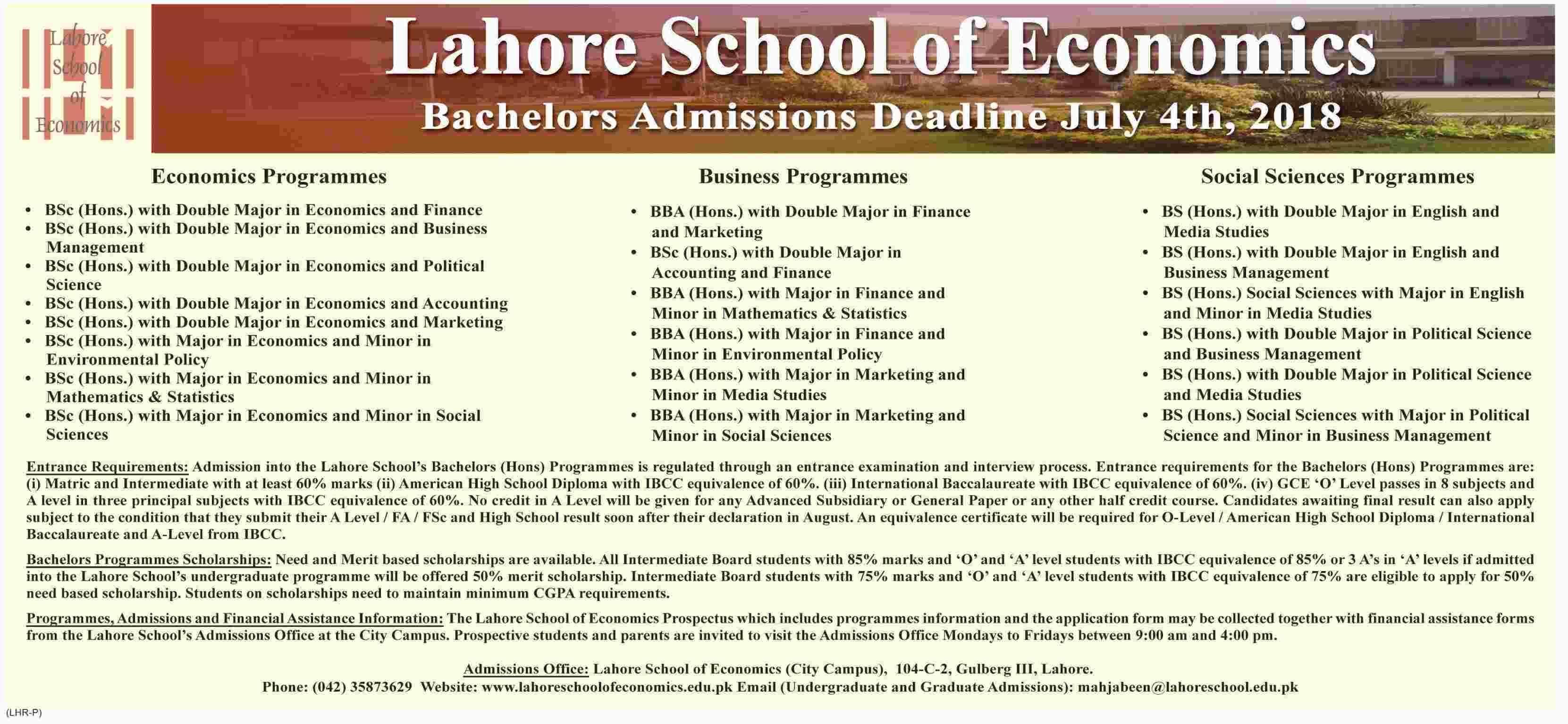 LSE undergraduate Admissions 2018