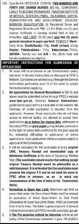 FPSC Charge Nurse Jobs 2018 Apply Online Last Date, Advertisement