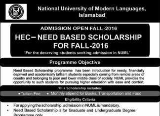NUML University Islamabad Scholarships 2016 Download Application Form, Last Date