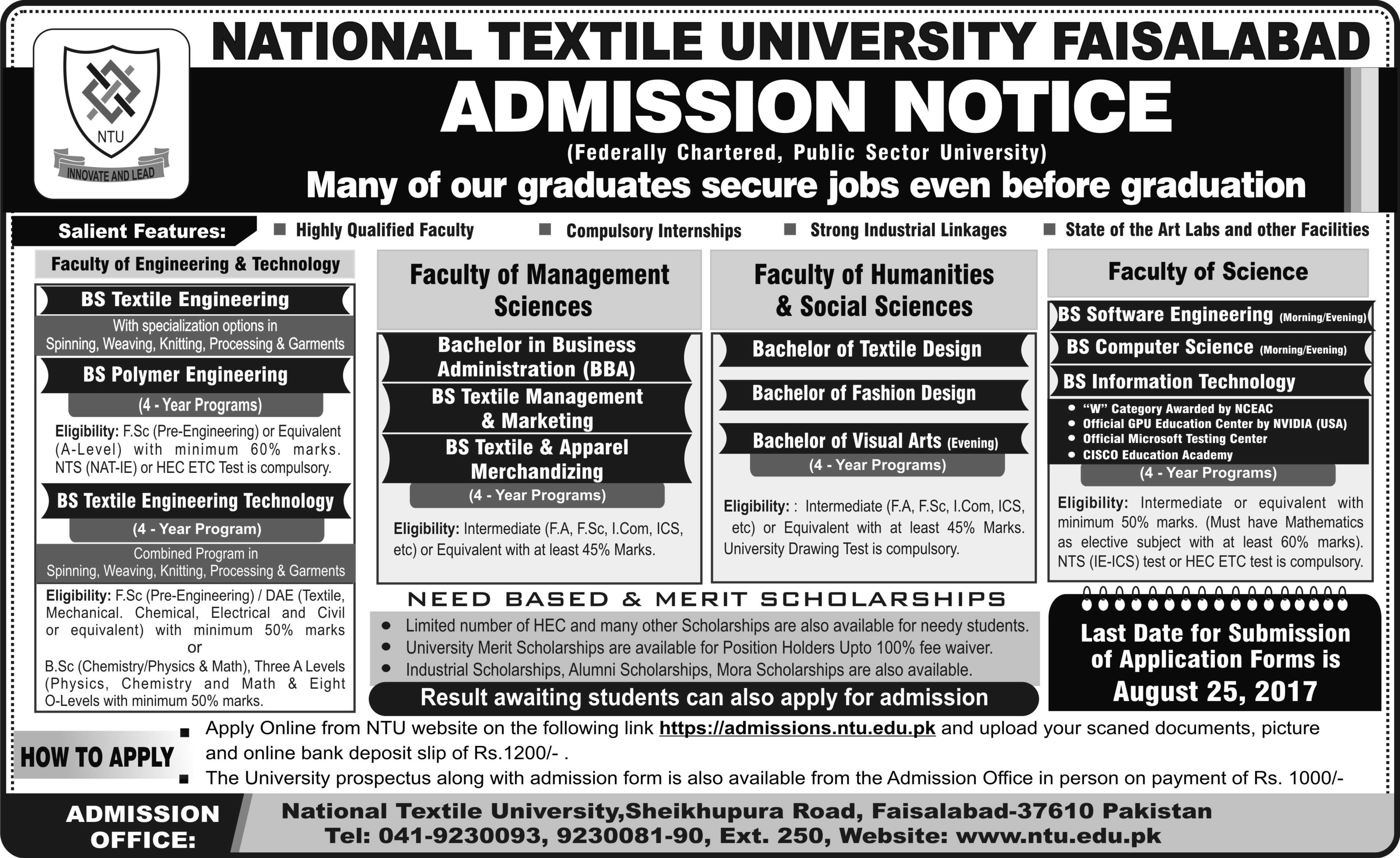 National Textile University Faisalabad Admissions 2017