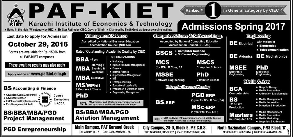 Paf Kiet Admissions 2017 Karachi Institute Of Economics
