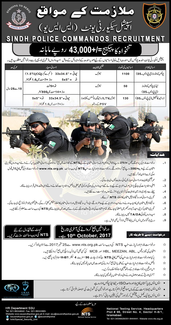 Sindh Police Commando SSU Jobs 2017 Male, Female Form, Last Date