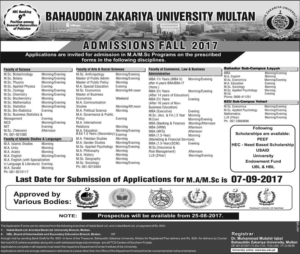 Bahauddin Zakariya University Multan BZU Admission 2017-2018 Form