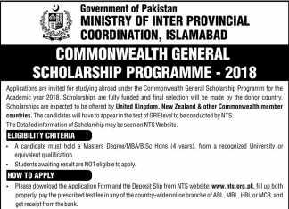 Commonwealth General Scholarship Program 2018 NTS Form Registration