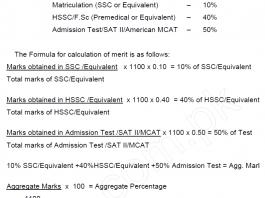UHS MDCAT Aggregate Formula 2020