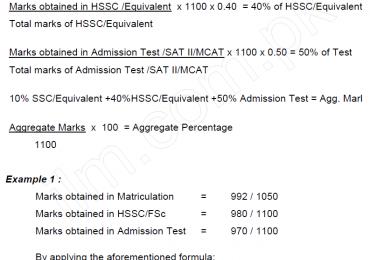 UHS MDCAT Aggregate Formula 2019