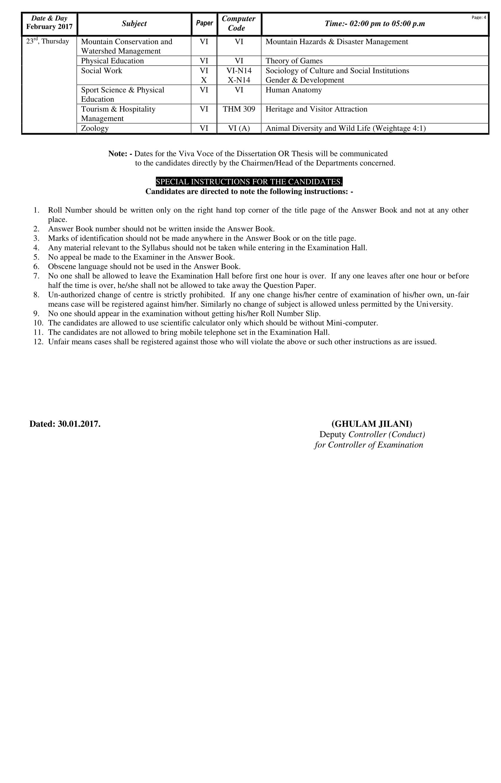 PU MA, MSc Part 1, 2 Supplementary Exams Date Sheet 4